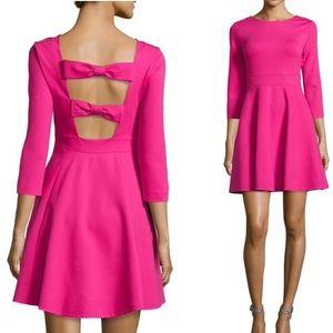 kate spade hot pink ponte flirty bow back dress